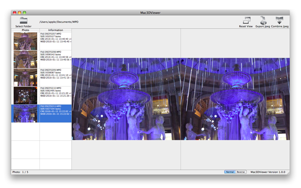 MPO3DViewer for Mac 操作画面